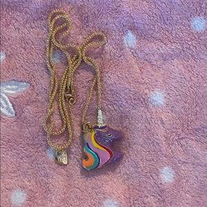 Glittery purple Betsey Johnson unicorn necklace
